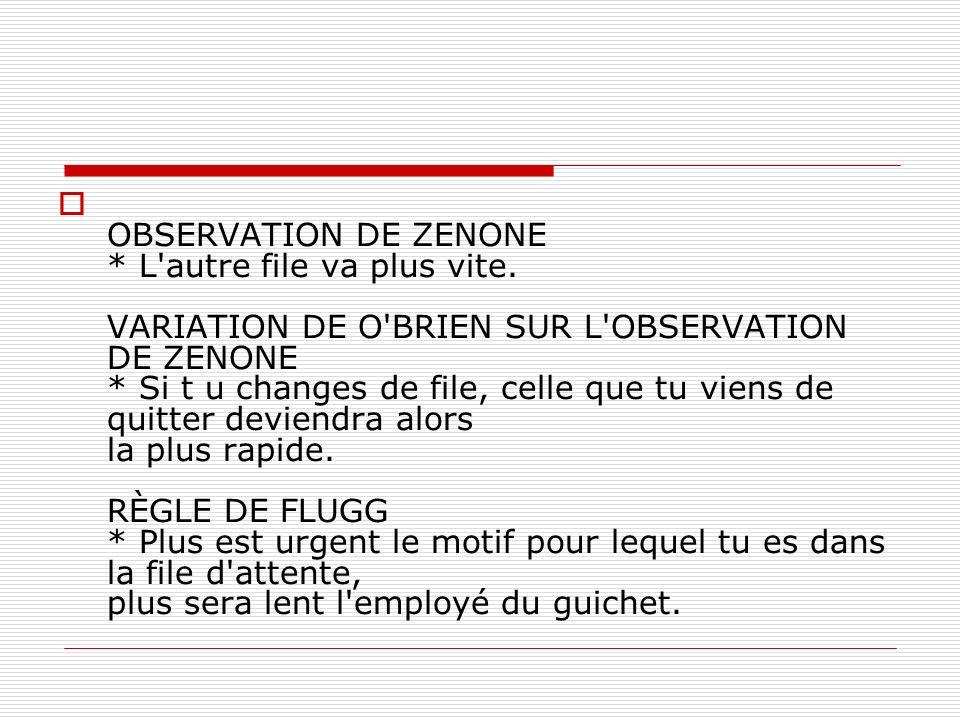 OBSERVATION DE ZENONE. L autre file va plus vite