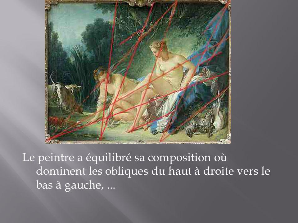 Le peintre a équilibré sa composition où dominent les obliques du haut à droite vers le bas à gauche, ...