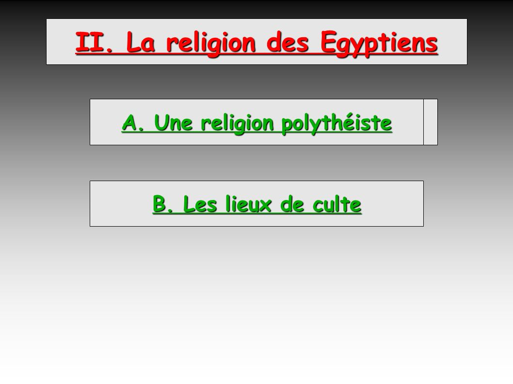 II. La religion des Egyptiens