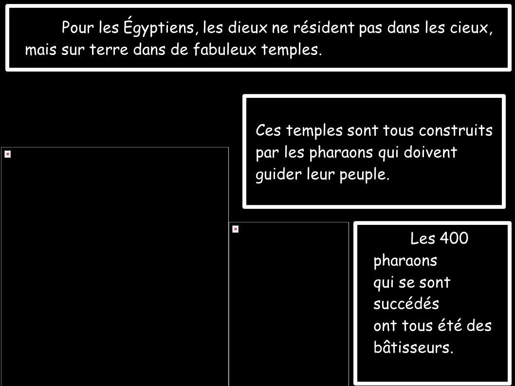 Pour les Égyptiens, les dieux ne résident pas dans les cieux, mais sur terre dans de fabuleux temples.
