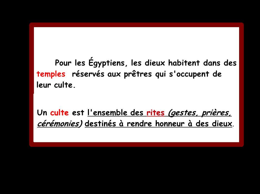 Pour les Égyptiens, les dieux habitent dans des