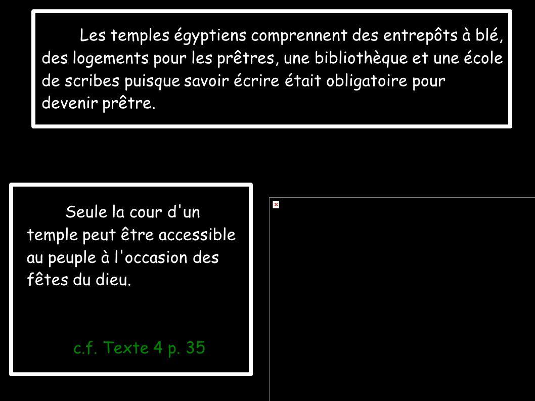 Les temples égyptiens comprennent des entrepôts à blé,