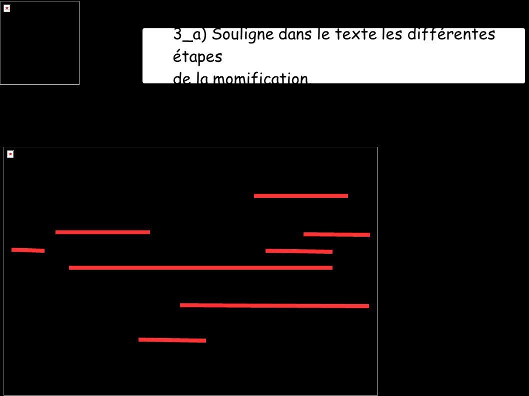 3_a) Souligne dans le texte les différentes étapes