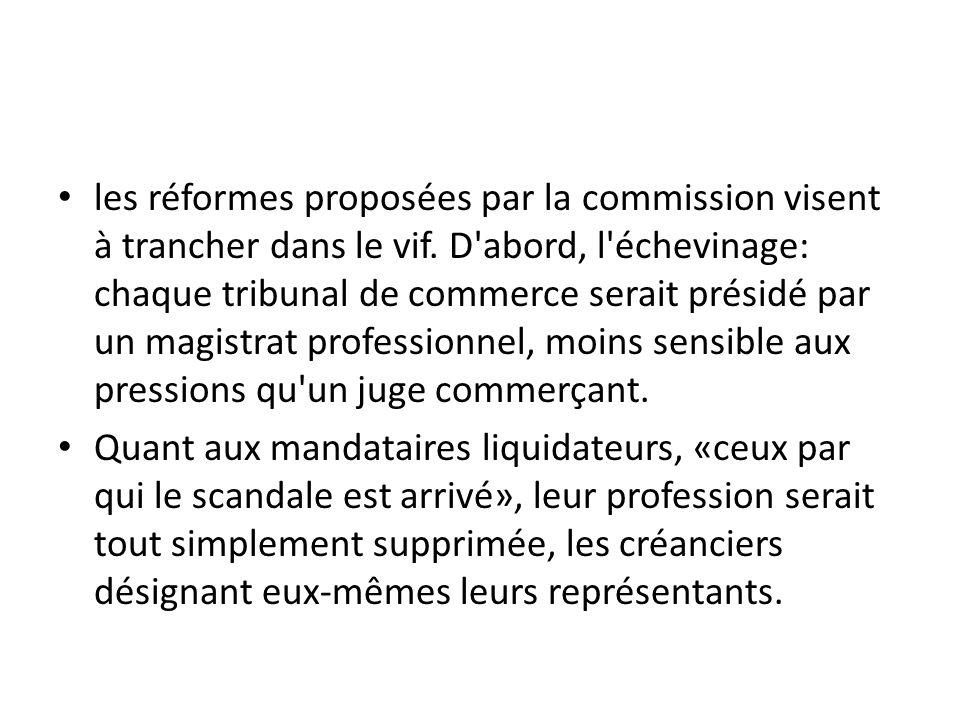 les réformes proposées par la commission visent à trancher dans le vif