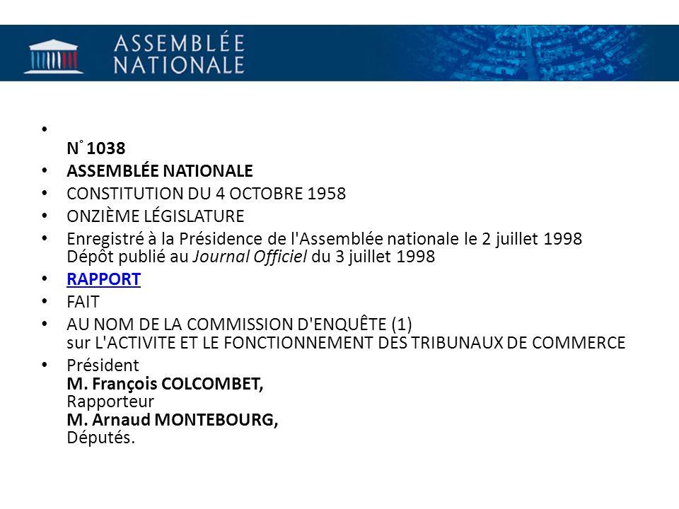 N° 1038 ASSEMBLÉE NATIONALE. CONSTITUTION DU 4 OCTOBRE 1958. ONZIÈME LÉGISLATURE.