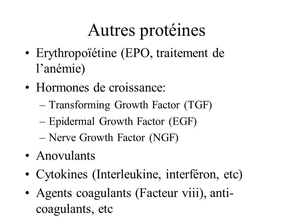 Autres protéines Erythropoïétine (EPO, traitement de l'anémie)