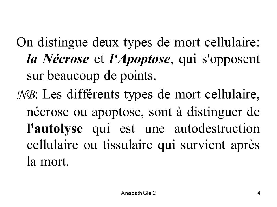 On distingue deux types de mort cellulaire: la Nécrose et l'Apoptose, qui s opposent sur beaucoup de points.