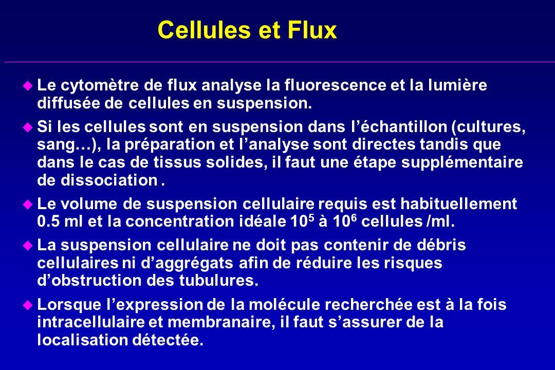 Cellules et Flux Le cytomètre de flux analyse la fluorescence et la lumière diffusée de cellules en suspension.