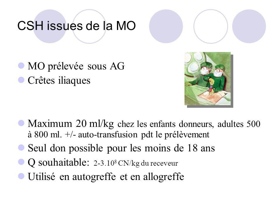 CSH issues de la MO MO prélevée sous AG Crêtes iliaques