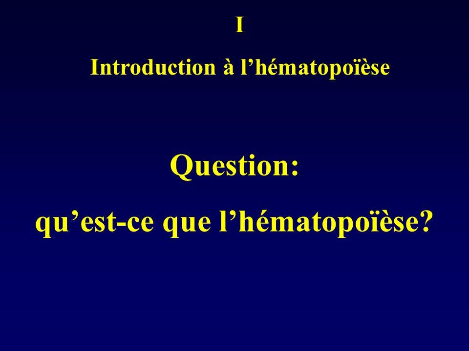 Introduction à l'hématopoïèse qu'est-ce que l'hématopoïèse