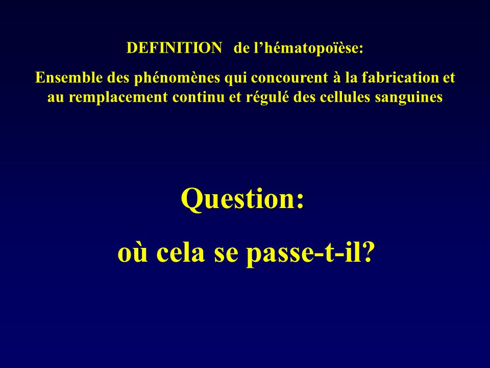 DEFINITION de l'hématopoïèse: