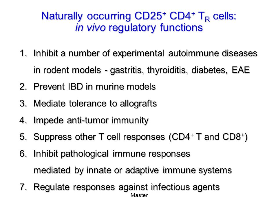 Naturally occurring CD25+ CD4+ TR cells: in vivo regulatory functions