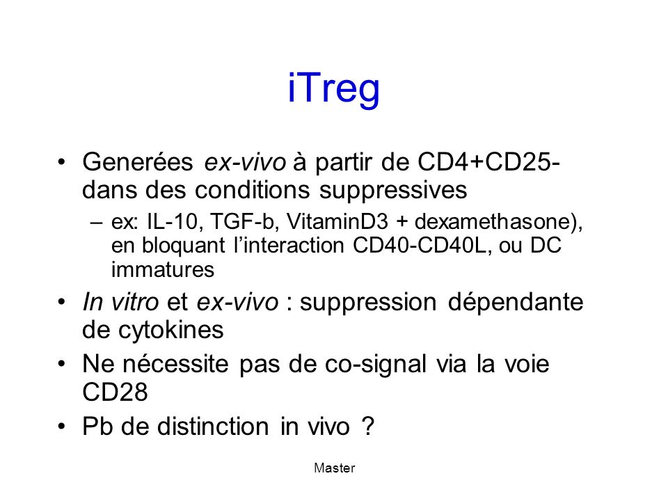 iTreg Generées ex-vivo à partir de CD4+CD25- dans des conditions suppressives.