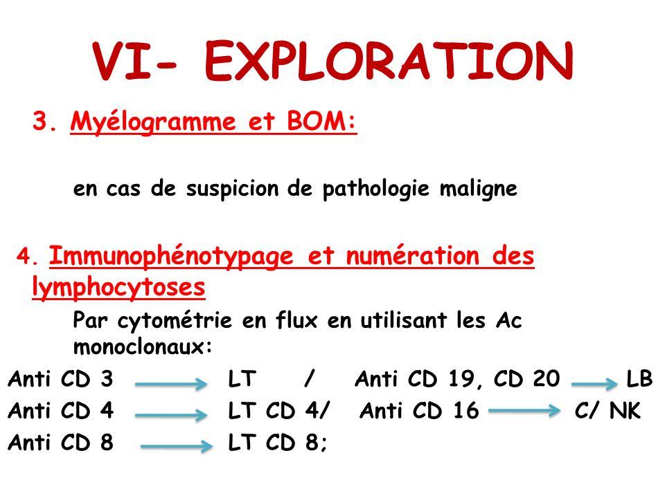 VI- EXPLORATION 3. Myélogramme et BOM: