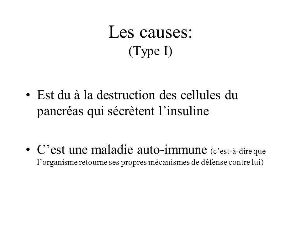 Les causes: (Type I) Est du à la destruction des cellules du pancréas qui sécrètent l'insuline.