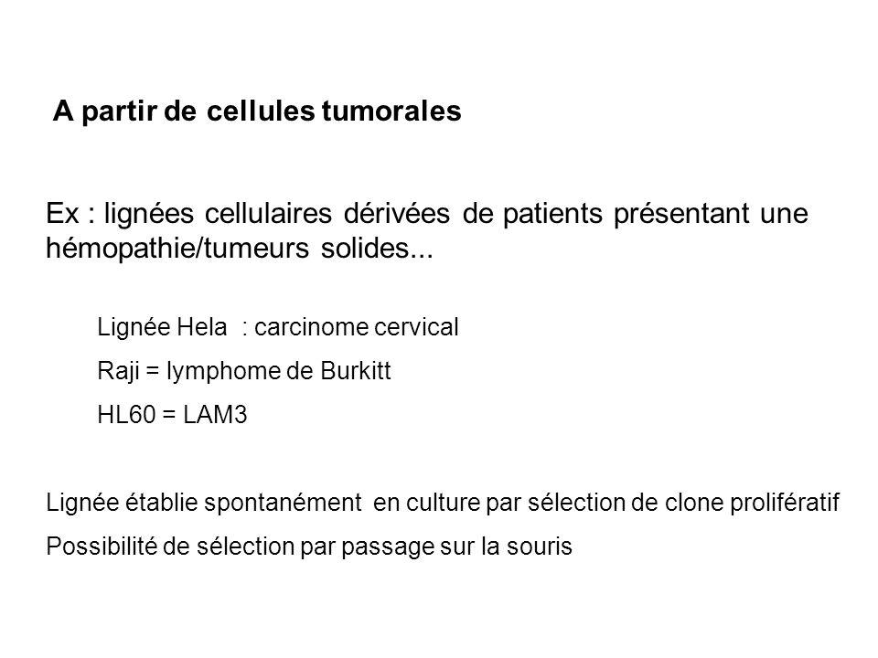 A partir de cellules tumorales