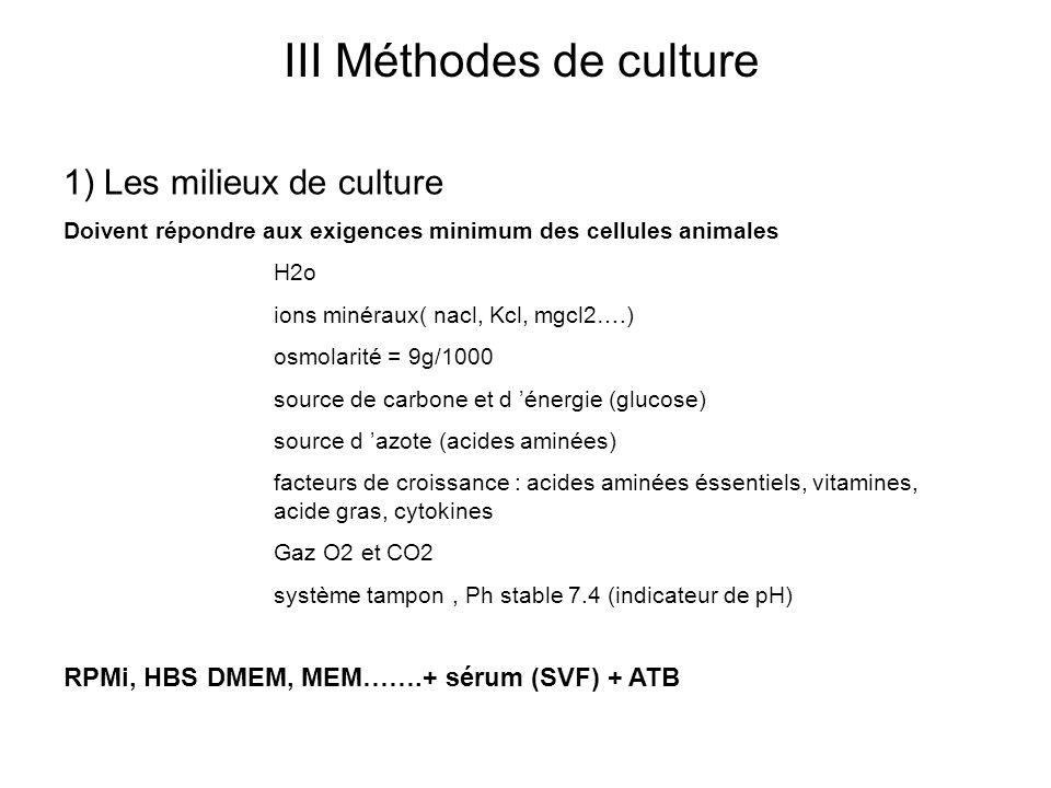 III Méthodes de culture