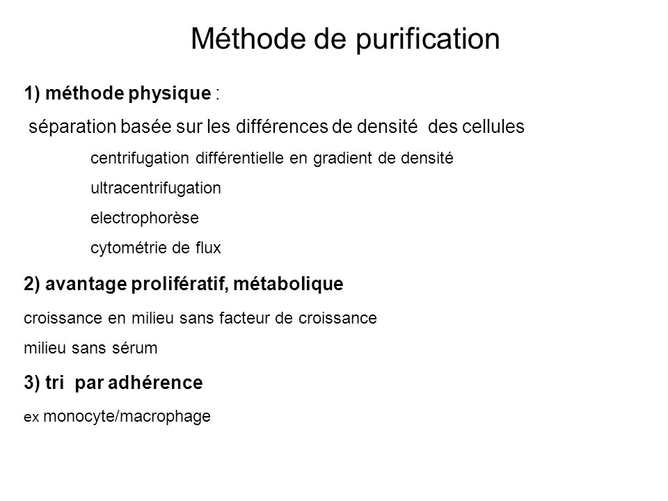 Méthode de purification