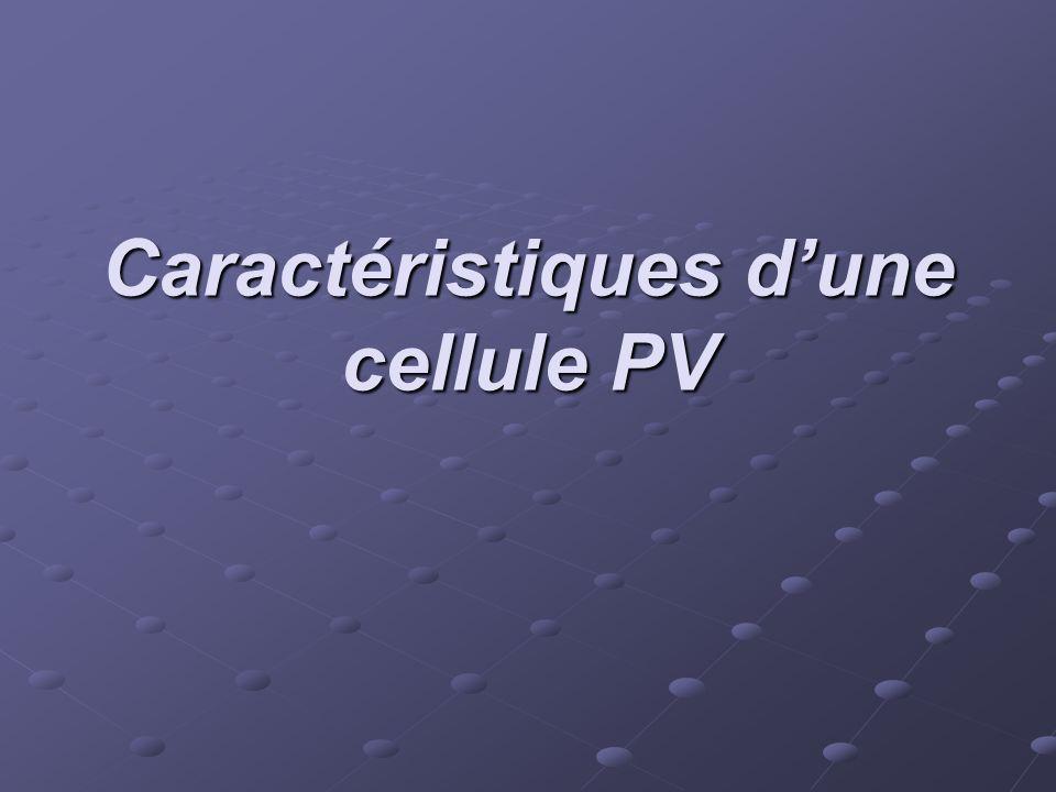 Caractéristiques d'une cellule PV
