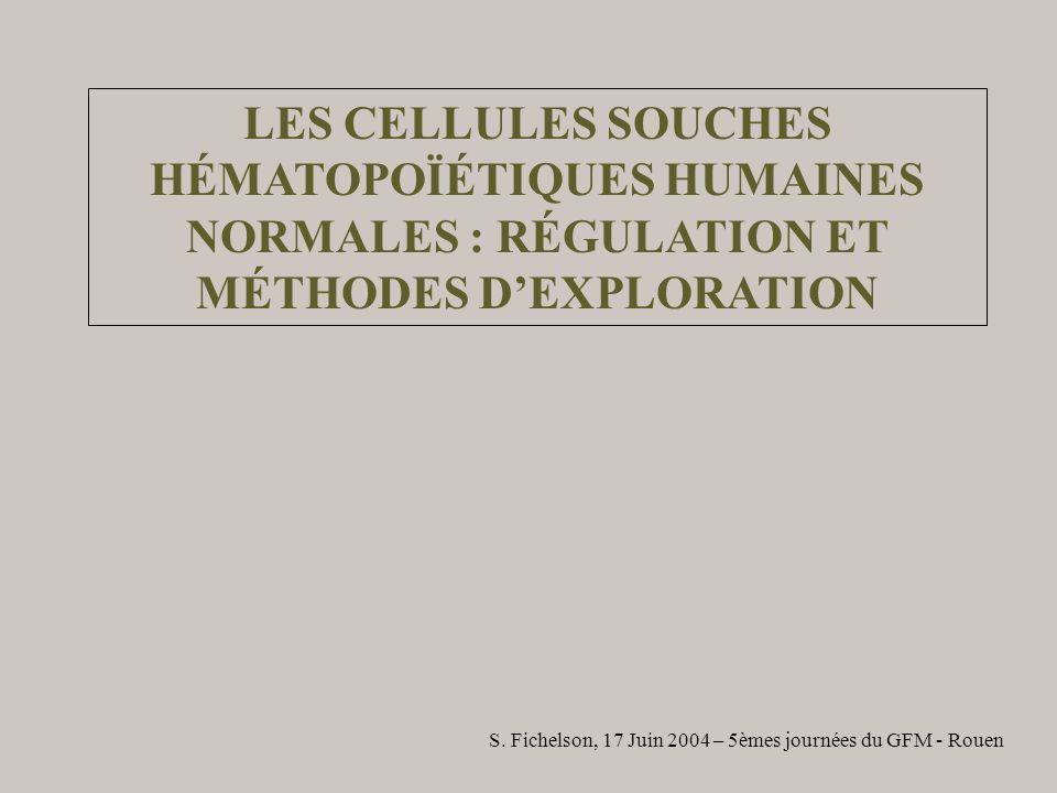 LES CELLULES SOUCHES HÉMATOPOÏÉTIQUES HUMAINES NORMALES : RÉGULATION ET MÉTHODES D'EXPLORATION