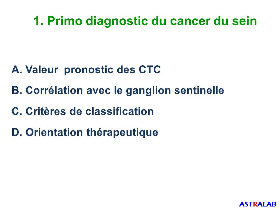 1. Primo diagnostic du cancer du sein