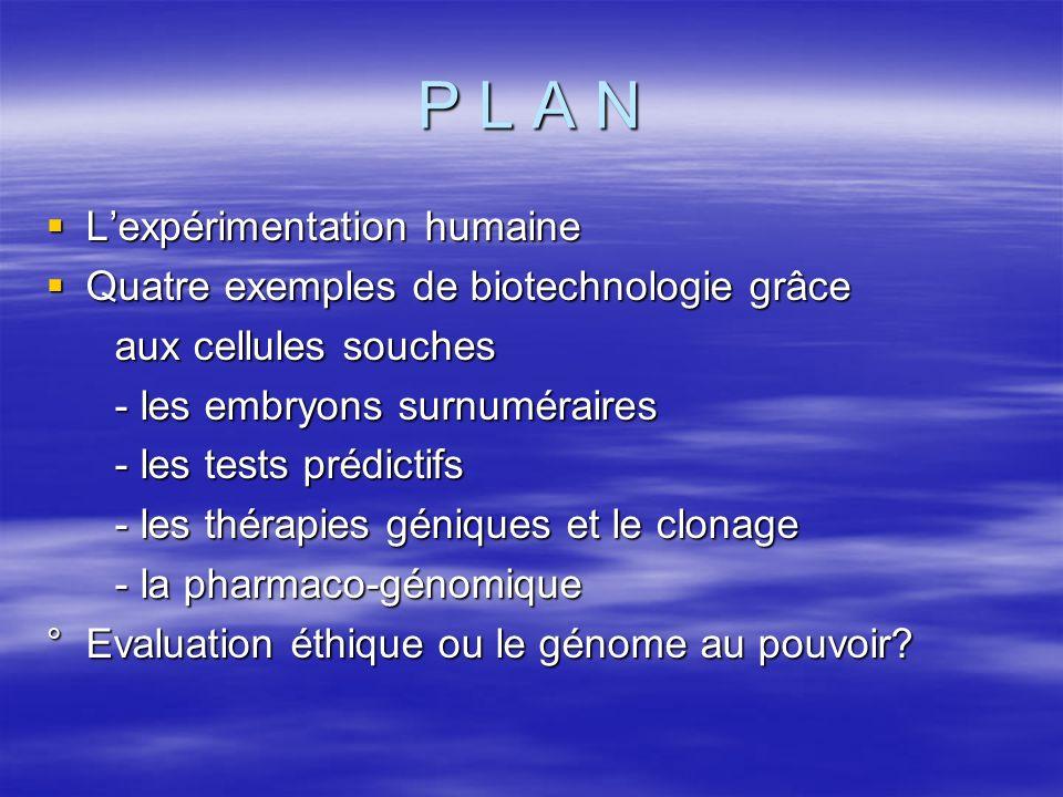 P L A N L'expérimentation humaine