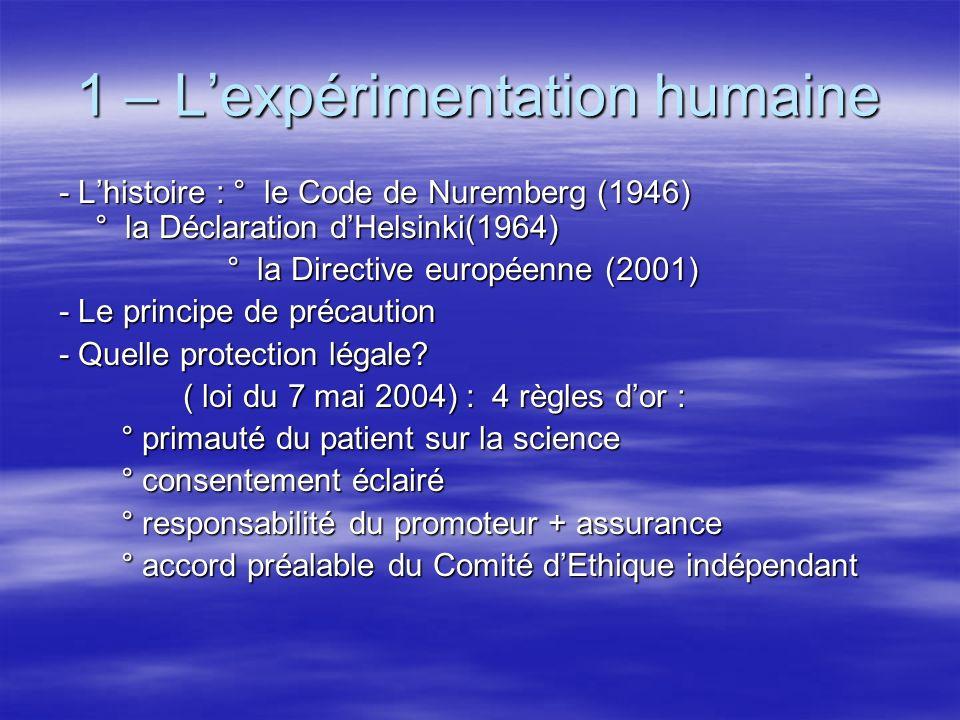 1 – L'expérimentation humaine