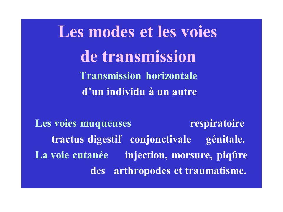 de transmission Transmission horizontale d'un individu à un autre