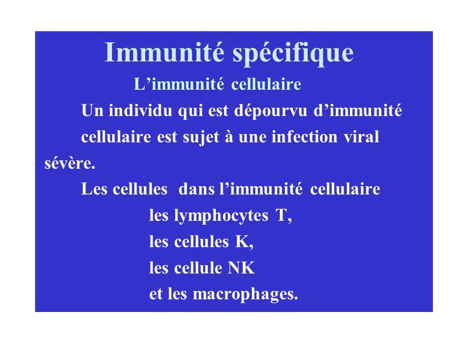 Immunité spécifique Un individu qui est dépourvu d'immunité
