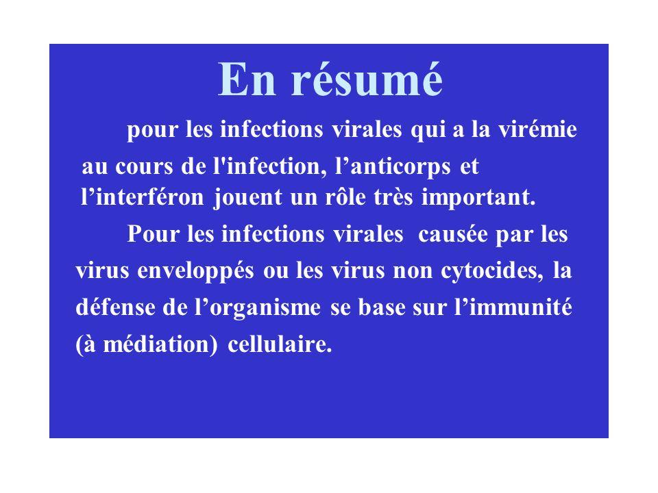En résumé pour les infections virales qui a la virémie