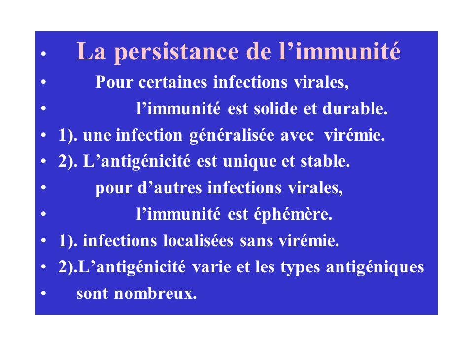 La persistance de l'immunité