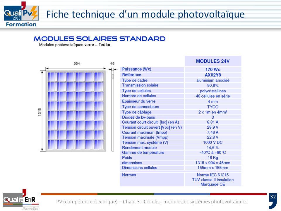 Fiche technique d'un module photovoltaïque