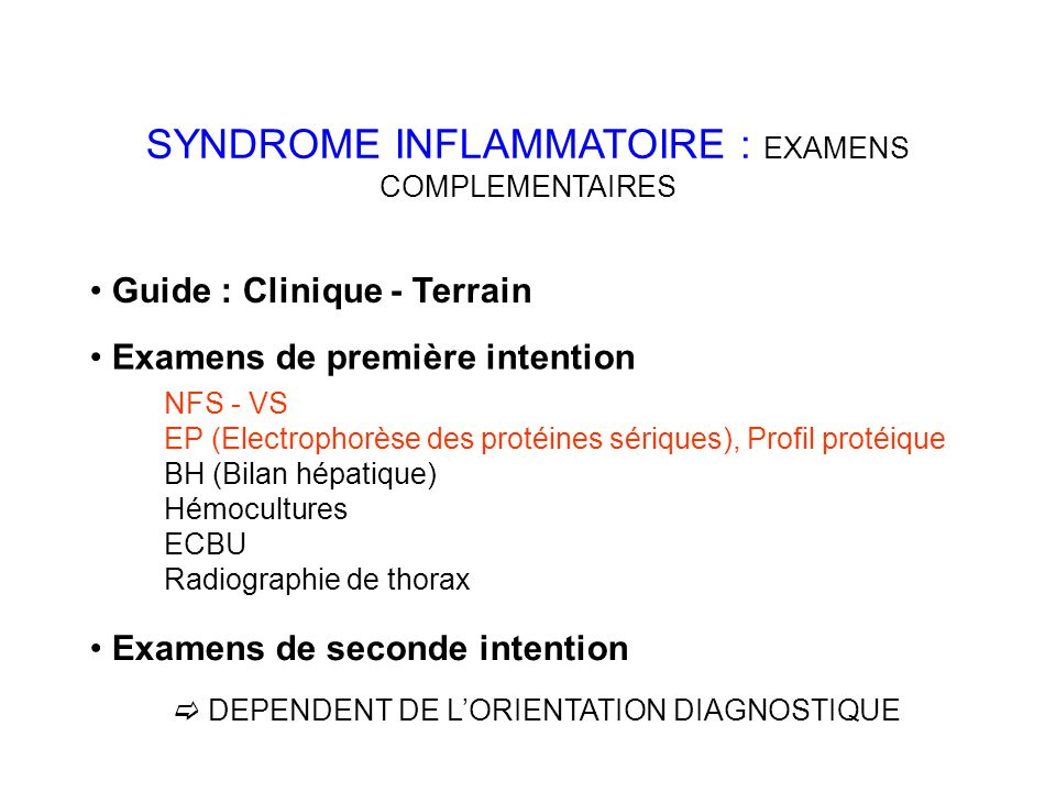SYNDROME INFLAMMATOIRE : EXAMENS COMPLEMENTAIRES