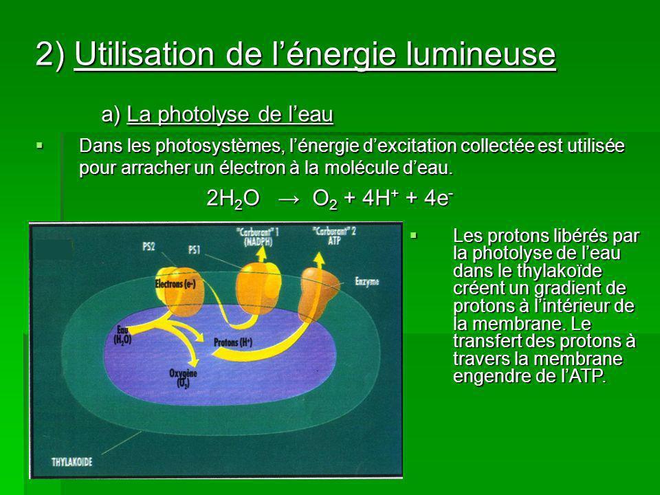 a) La photolyse de l'eau