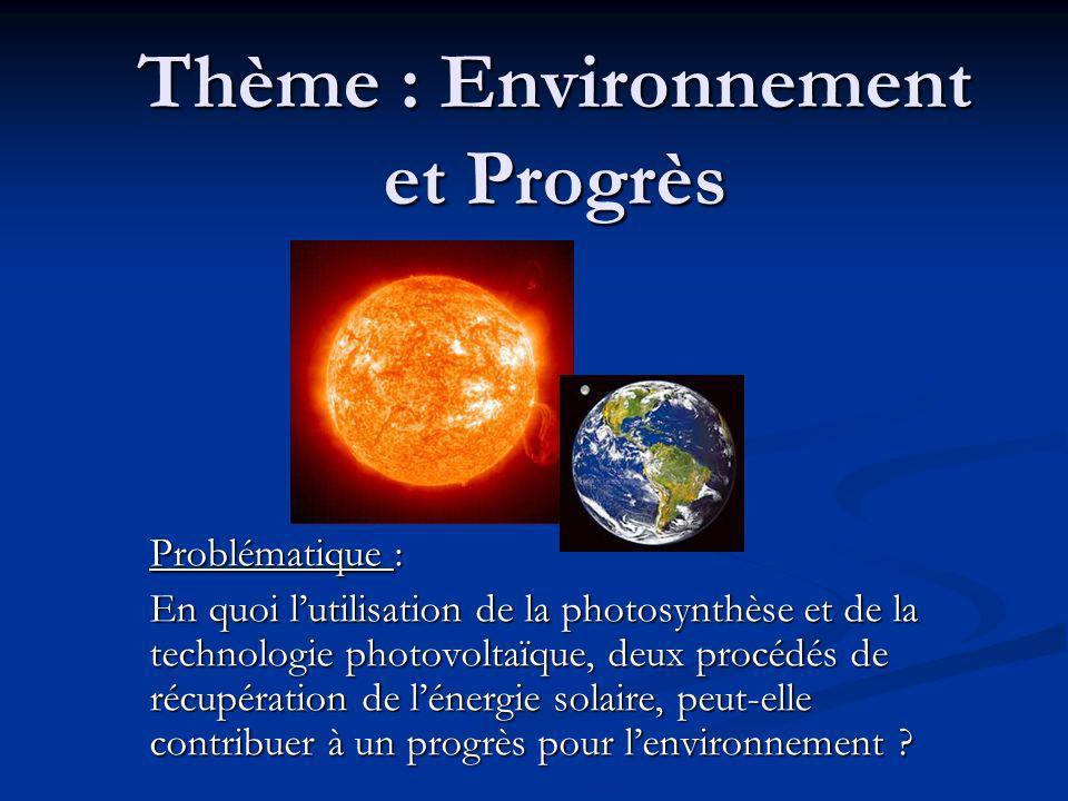 Thème : Environnement et Progrès