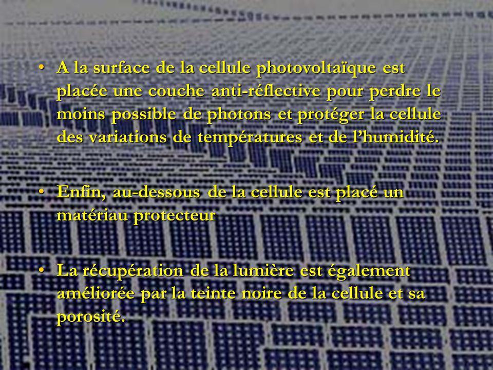 A la surface de la cellule photovoltaïque est placée une couche anti-réflective pour perdre le moins possible de photons et protéger la cellule des variations de températures et de l'humidité.