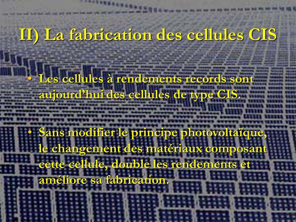 II) La fabrication des cellules CIS
