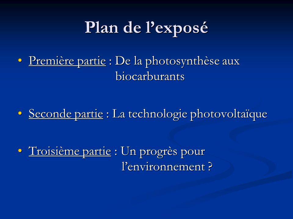 Plan de l'exposé Première partie : De la photosynthèse aux biocarburants. Seconde partie : La technologie photovoltaïque.