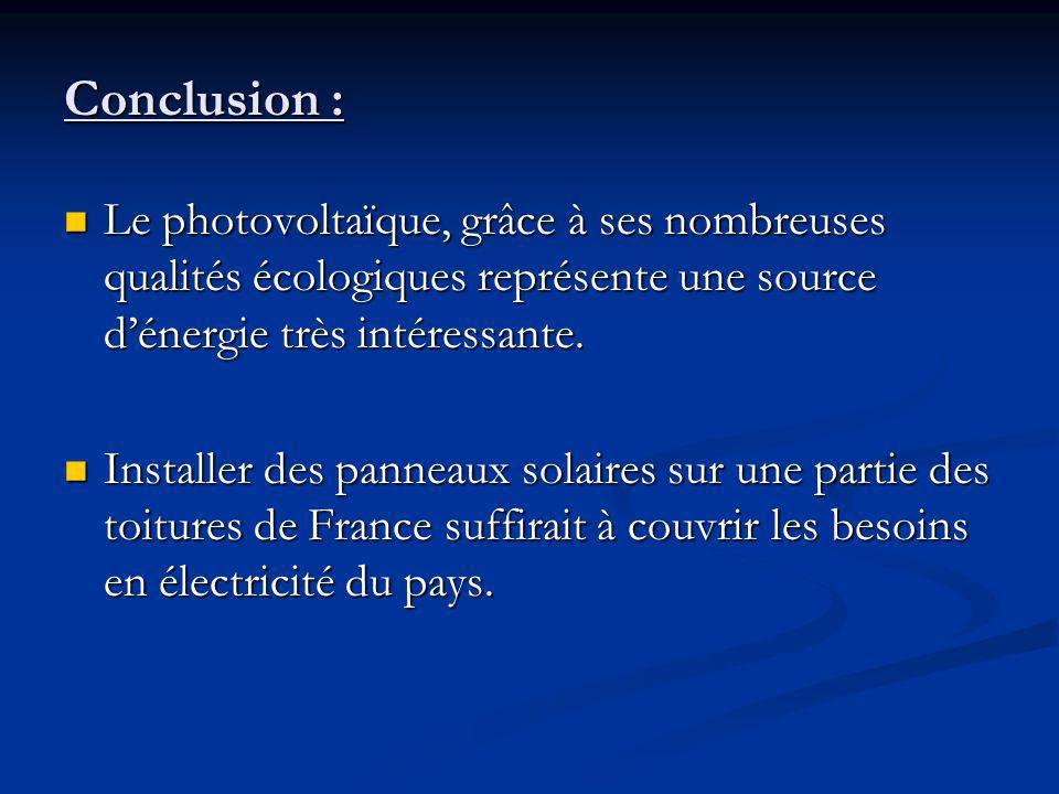 Conclusion : Le photovoltaïque, grâce à ses nombreuses qualités écologiques représente une source d'énergie très intéressante.