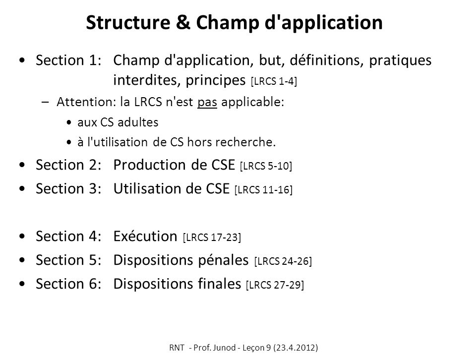 Structure & Champ d application