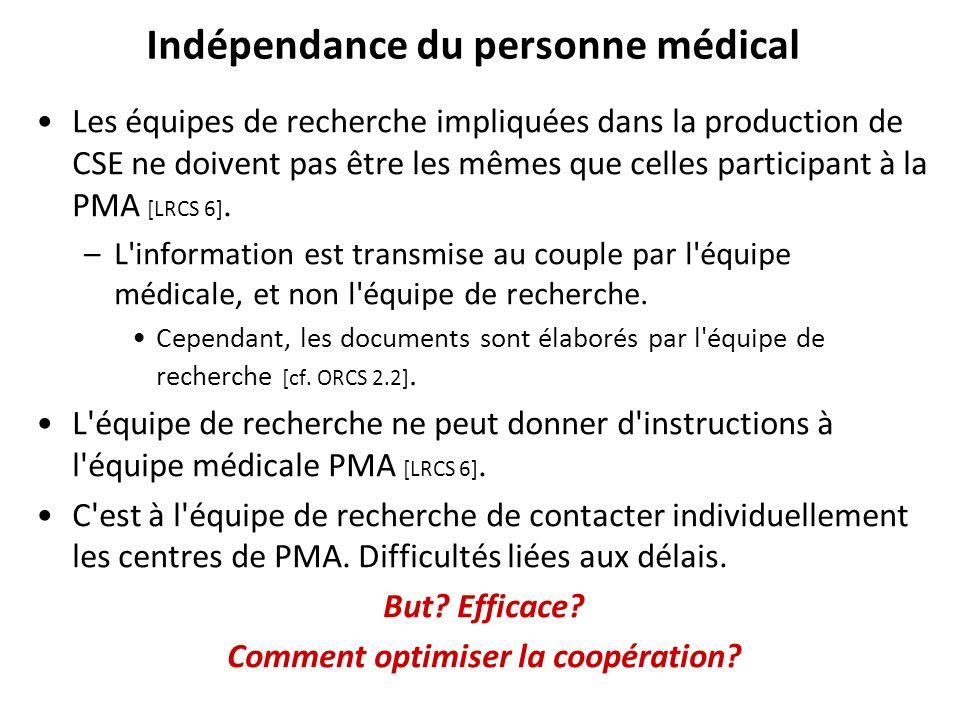 Indépendance du personne médical