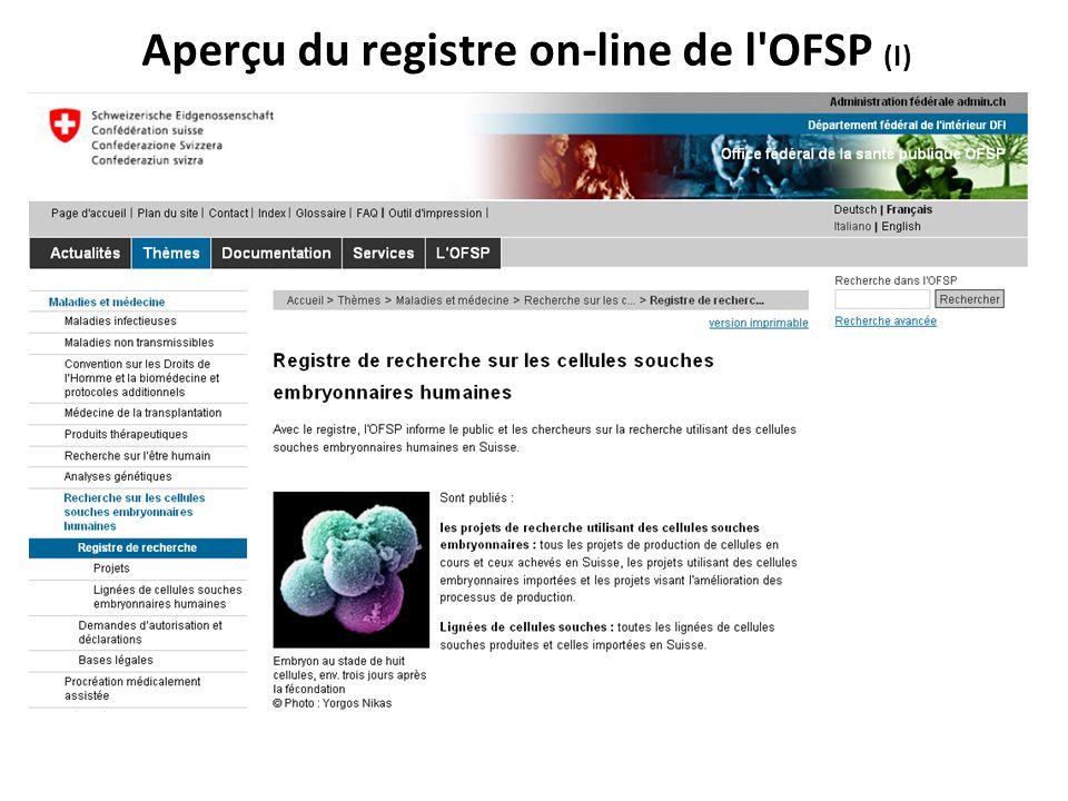 Aperçu du registre on-line de l OFSP (I)