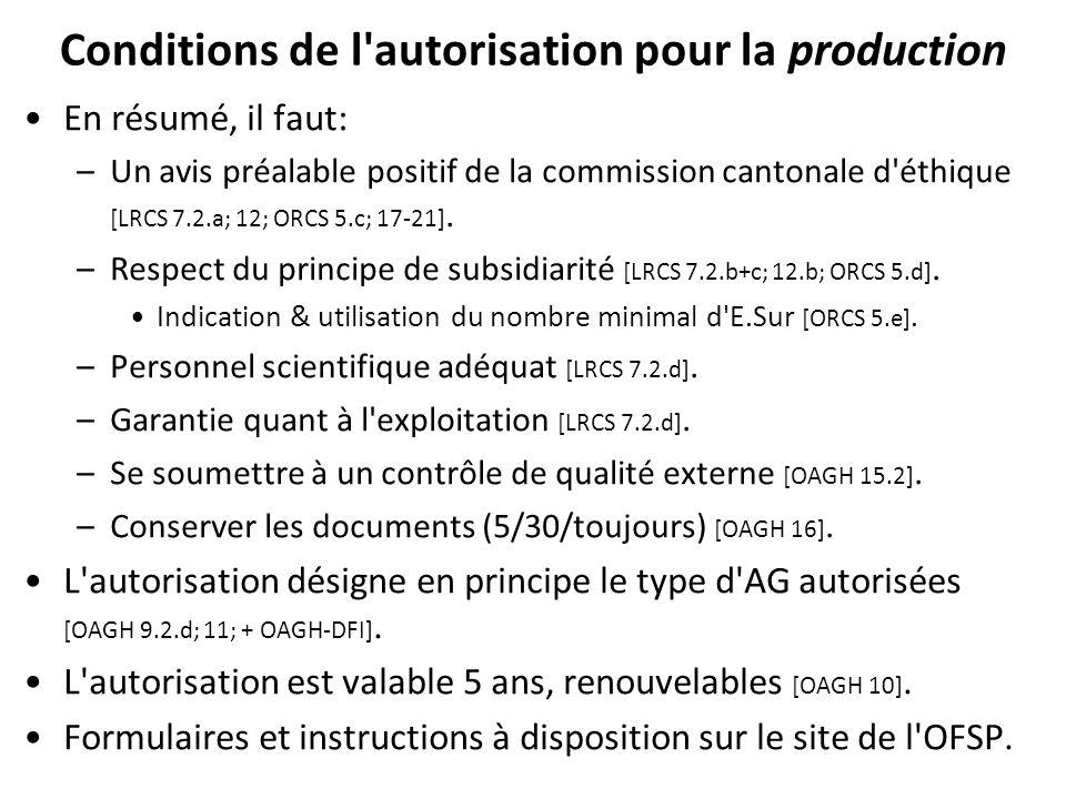 Conditions de l autorisation pour la production