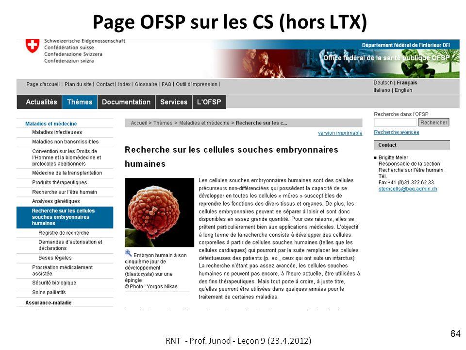 Page OFSP sur les CS (hors LTX)