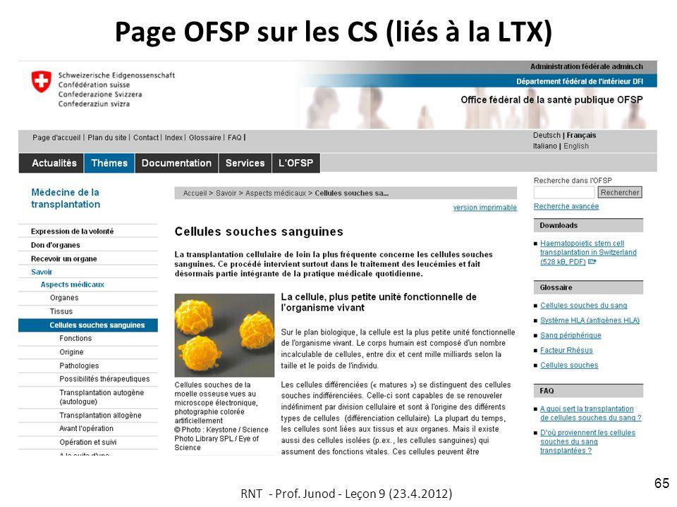 Page OFSP sur les CS (liés à la LTX)