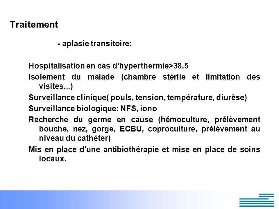 Traitement - aplasie transitoire: