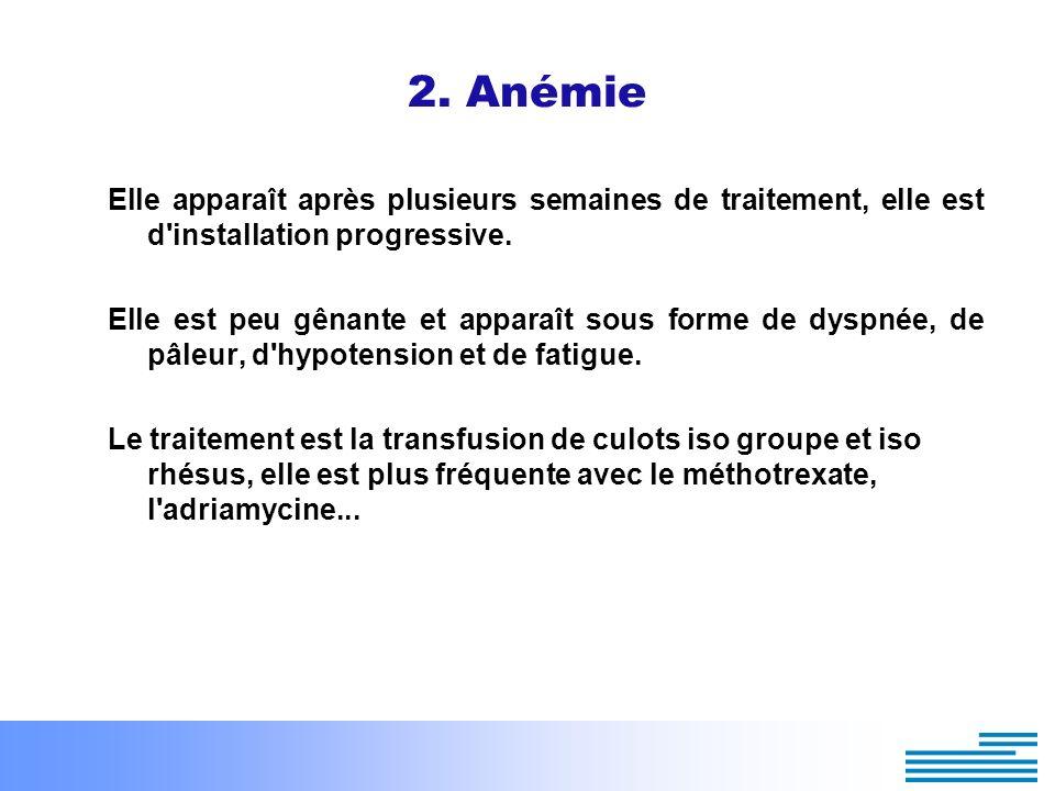 2. Anémie Elle apparaît après plusieurs semaines de traitement, elle est d installation progressive.