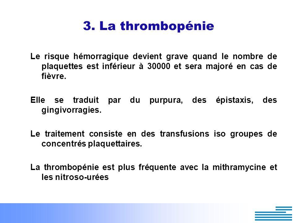 3. La thrombopénie Le risque hémorragique devient grave quand le nombre de plaquettes est inférieur à 30000 et sera majoré en cas de fièvre.