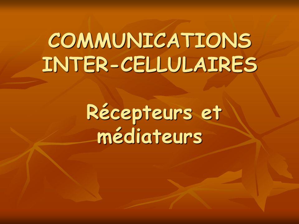 COMMUNICATIONS INTER-CELLULAIRES Récepteurs et médiateurs