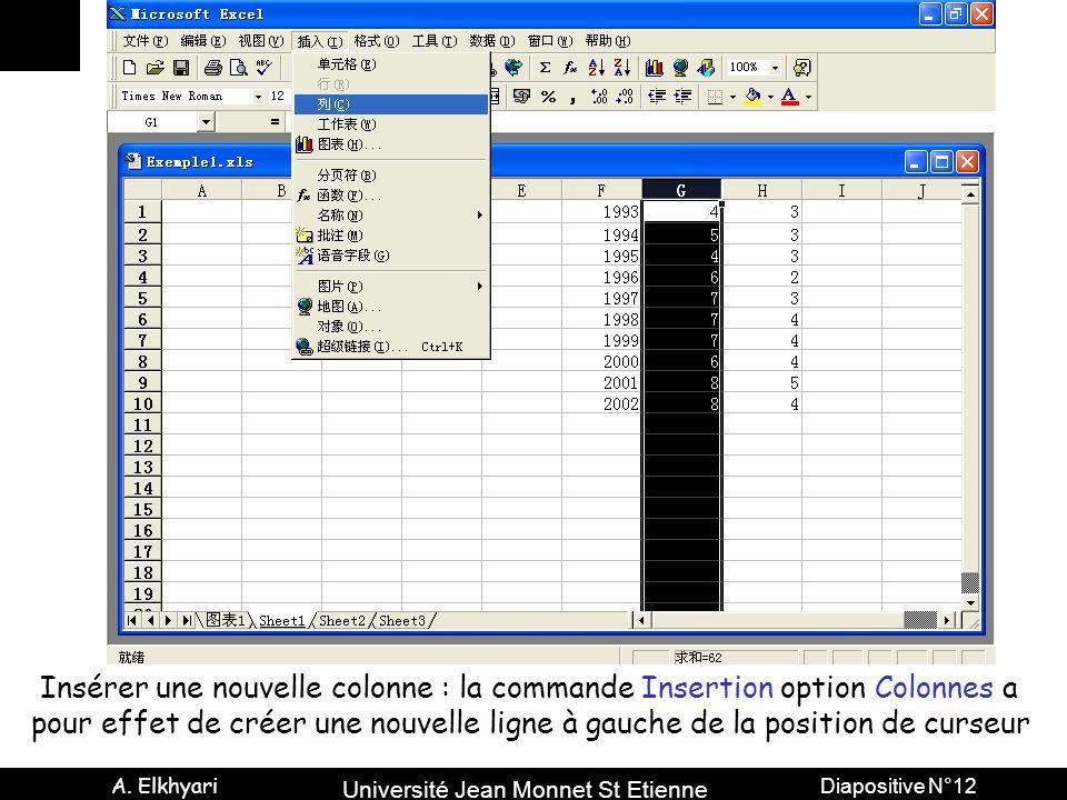 Insérer une nouvelle colonne : la commande Insertion option Colonnes a